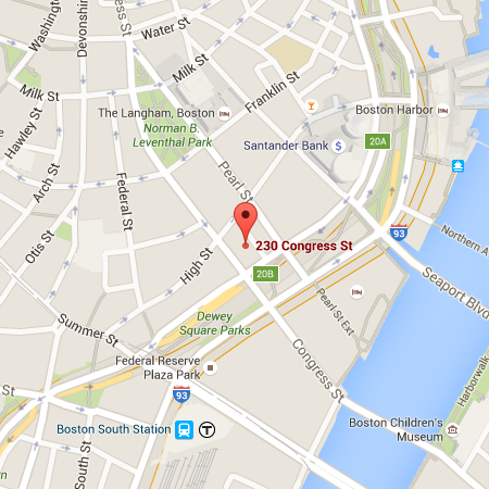 A map highlighting DPC's Boston office